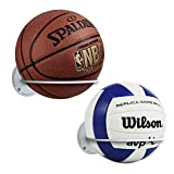 Suchek Steel Ball Holder Wall Mount, Display Rack Storage for Soccer, Basketball, Volleyball (2 Packs) (White)