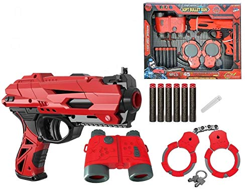 FunBlast High Speed Manual Soft Bullet Gun with 6 Foam Bullets, Handcuffs and Telescope for Kids/Boys/Children | Toy Gun Pistol for Kids