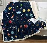 Space Adventure Astronaut Planet Rocket Spacecraft Throw Blanket Soft Lightweight Flannel Fleece Blanket for Baby Kids Youth Adult (Space, 50'x60')