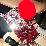 Case for Galaxy S6 Edge Plus,3D Handmade Angel Ring Kickstand Fluffy Ball Sparkle Crystal Rhinestone Diamond Glitter Case for Samsung Galaxy S6 Edge Plus(C Angel Red)
