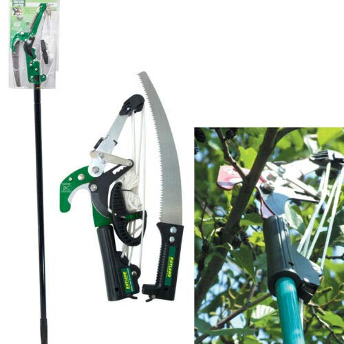 BARGAINSGALORE RATCHET TREE LOPPER & TELESCOPIC POLE SAW PRUNING CUTTING BRANCH TELESCOPIC NEW