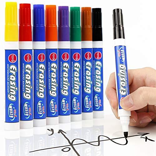 LuluPlus Whiteboard Stifte, 8 Stück Whiteboard Marker, Boardmarker für Glas, Flipchart Stifte, Wasserlöslicher Stift, Flipchart Marker für Kinder, Dry Erase Marker für Büro oder Schule