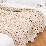 Chunky Hand-Knitted Throw Blanket, Beige,40''x60''- Crochet Blanket - Cable Knit Throw Blanket- Weighted Chunky Blanket-Tightly Woven Chenille Yarn, Suitable for Sofas, beds, Gifts-Machine Washable