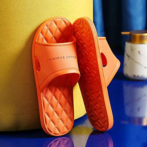 MDCGL Zapatos Playa Piscina Zapatillas de baño para el baño en casa para Mujer, Sandalias de Suela Blanda Antideslizantes para Parejas de Verano, Zapatos de Hotel para Hombres, Naranja EU39-40