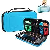 Suhctup Étui pour commutateur, avec 10 supports de cartouche de jeu, étui de protection portable pour console Nintendo Switch et accessoires (bleu)