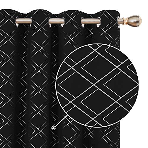 Deconovo Room Darkening Panels with Grommet Foil Print Geometric Pattern Solid Black Blackout Curtains for Bedroom Living Room 52x63 Inch Set of 2