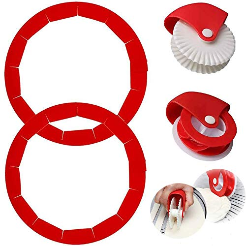 Pie Crust Protector Shield Pie Crust Set+ Pastry Wheel Decorator And Cutter Silicone Pie Protectors Cover Kitchen Tool for Baking Pie Pizza 8 To 11.4 Inch Protection Ring,4 Pieces