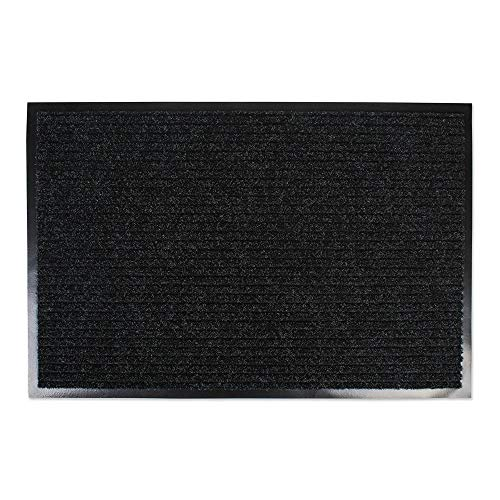Heavy Duty, Long Waterproof Ribbed Utility Doormat (30x48 - Charcoal Black) Entry Way Shoes Scraper for Patio