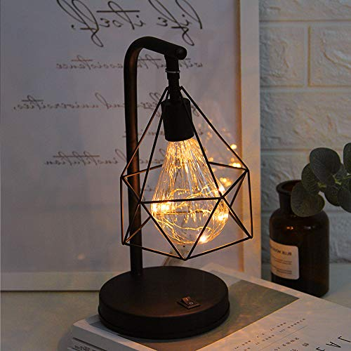 Vintage Table Lamp, Retro Cage Nightstand Lamp Battery Operated, Geometric Wire Industrial Bedside Desk Lamp, Suitable for Bedroom Living Room Coffee Store Restaurant (Black)