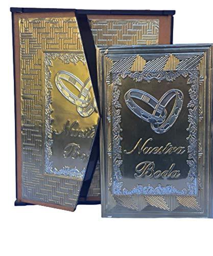Evangelin Collections Hand Made Spanish Bible - Biblia Latinoamericana Letra Grande Con Repujado - de Bodas - de Quinceañera A-007 (Silver/Gold)
