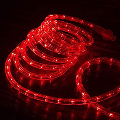 "West Ivory 1/2"" RED LED Rope Lights 2 Wire Accent Holiday Christmas Party Decoration ExtendableLighting (10', 25', 50' ft Option)