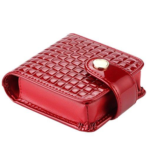 kilofly Damen Echtes Leder-Doppel Lippenstift Fall Kosmetik Make-up-Halter + Geschenkbox Dunkelrot Einheitsgröße