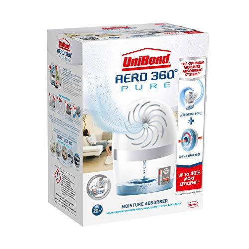 UniBond AERO 360º Moisture Absorber, Ultra-Absorbent Dehumidifier, Helps to Prevent Condensation, Mould & Musty Smells, Refillable Condensation Absorber, 1 Device incl. 1 Refill Tab 450 g