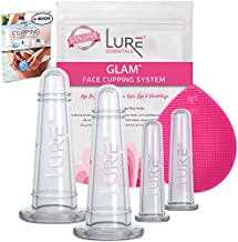Lure Glam Facial Cupping Set - Face and Eye Cupping Massage Kit with Silicone Cleansing Brush for Instantly Ageless Skin, Works for Fine Lines & Wrinkles, Improves Collagen
