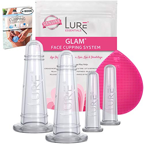 Lure Glam Facial Cupping Set - Face and Eye Cupping Massage Kit with Silicone Cleansing Brush for...