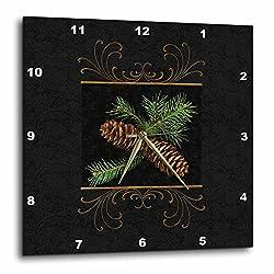 3dRose DPP_202963_2 Rich Black Damask and Gold Swirls Winter Pine Cone Watercolor Wall Clock, 13 x 13