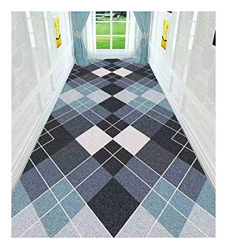 ditan XIAWU Teppich Gang Eingang Treppe Schlafzimmer Wohnzimmer rutschfest Kann Geschnitten Werden (Color : Blue, Size : 60x240cm)