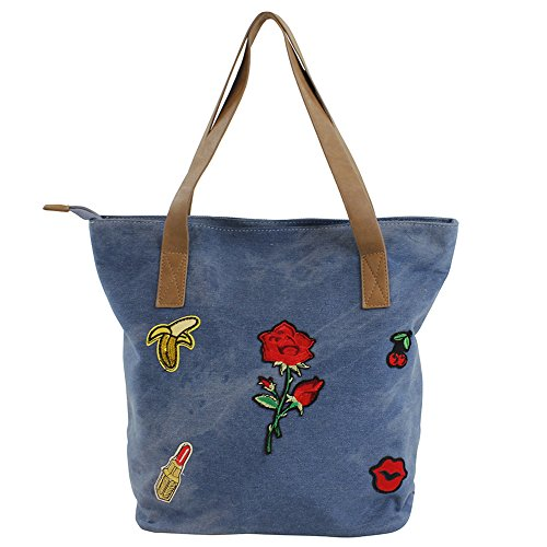 For Time Shopper de Lona Vaquera con Emojis, Bolso Emoji para Mujer, Multicolor, 36x34x13 cm