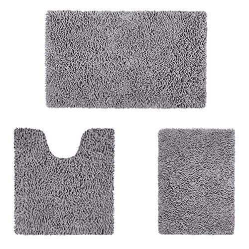 HOMEIDEAS 3 Pieces Bathroom Rugs Set Ultra Soft Non Slip and Absorbent Chenille Bath Rug, Grey Bathroom Rugs Plush Bath Mats for Tub, Shower, Bathroom