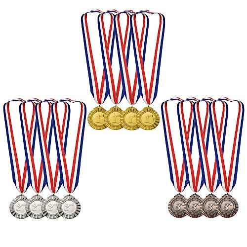 Gocrown 12 Piezas Metal Ganador Oro Plata Bronce premios medallas con Rojo Blanco Azul Cuello Cinta, Estilo olímpico, 2 Pulgadas