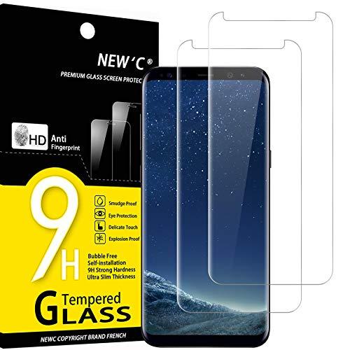 NEW'C 2 Stück Hartglasfolie Schutzfolie Kompatibel mit Samsung Galaxy S8, S9, 3D Gebogen Vollabdeckung mit Flüssigkeit und UV-Lampe panzerglasfolie, Frei von Kratzern, 9H Härte, HD Displayschutzfolie