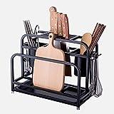 CHOUCHOU Flower Stand Stainless Steel Cutting Board Holder Cutter Kitchen Rack Shelf Chopsticks Spoon Soup Storage Spatula Shelf Black Kitchen Utensils