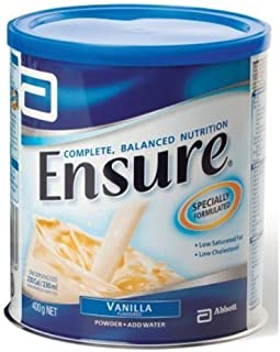 Ensure Vanilla Flavor 400g (14.10 Oz) ; Complete diet that provides the nutrients your body needs vitamins and minerals and fiber by Ensure