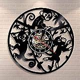 wtnhz LED-Zoo pequeño Mono Colgando Rama Arte de la Pared Jungle Safari Boy Animal Lindo Reloj de Pared Disco de Vinilo decoración del hogar jardín de Infantes Reloj Moderno