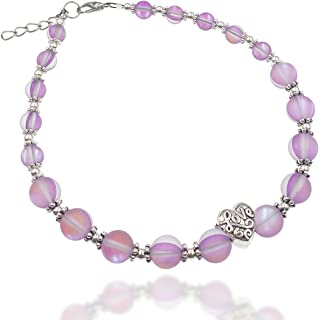 Purple Frosted Mermaid Round Beads with Love Heart Charm Artisan Beaded Anklet with Extension | Handmade Hypoallergenic Be...