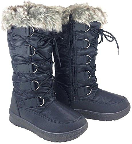 G4U-Anna Almeida POALA Women Winter Cold Weather Snowboots Lace up Zipper (Poala) (10 B(M) US, Black-PL)