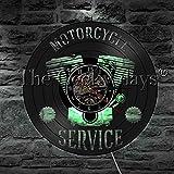 1 Pièce Moto Service D'affaires Signe LED Lampe De Table Moto Réparation Atelier Disque Vinyle Horloge Murale Garage Décor Sommeil Lampe