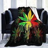 Flanel Blankets, Soft Fuzzy Throw Blankets for Kids, Boys, Girls, Decorative Blanket, Reggae Rasta Marijuana Leaf Weed Blankets, Ultra Soft Throw Blanket for Chair, Bed, 40x50 Inch