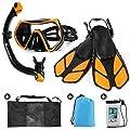 Odoland Snorkel Set 6-in-1 Snorkeling Packages with Diving Mask, Adjustable Swim Fins, Mesh Bag, Waterproof Case and Beach Blanket, Anti-Fog Anti-Leak Snorkeling Gear for Men Women Adult