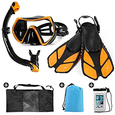 Odoland Snorkel Set 6-in-1 Snorkeling Packages with Diving Mask, Adjustable Swim Fins, Mesh Bag, Waterproof Case and Beach Blanket, Anti-Fog Anti-Leak Snorkeling Gear for Men Women Adult, Orange M