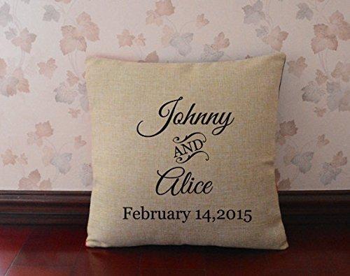Personaggi personalizzabili con nome e data, motivo 'Cane razza matrimonio-Cuscino decorativo, idea regalo per i 18 x 18
