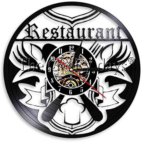 1 Stuk Mes Vork Wandklok Vinyl Klok Restaurant Voedsel Record Tijd Klok Licht Chelf Uurwerk Decoratief-A