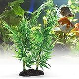 Planta acuática Artificial Planta de hoja plástico Planta de agua artificial Hierba para tanques de agua dulce o marinos Lugar escondite para peces Reptiles Anfibios(Pequeñas hojas de bambú verde)