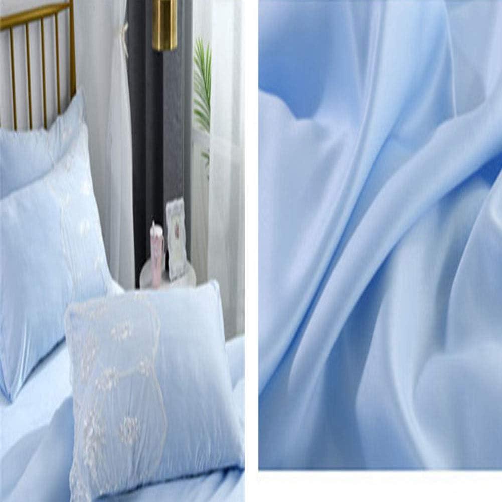 QYZLT Housse de Couette draps en Dentelle de Couleur Unie à la Mode Simple en Soie lavée de Style européen blue
