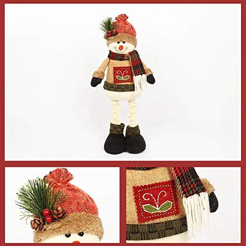 FENGLI Figuras navideñas Peluche, Tela Muñeca de la Mascota de la Navidad con una Ventana de suéter Figuras para la decoración de la Navidad Decoración del hogar Bien diseñada (Color : Snowman)
