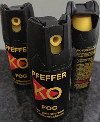 3 Dosen KO Fog Pfefferspray mit Sprühnebel 40ml - Abwehrspray Familienpackung