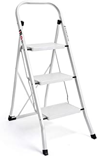 Delxo 3 Step Ladder, Folding Step Stool Ladder with Handgrip & Anti-Slip Sturdy and Wide Pedal, Multi-Use Metal Portable S...
