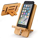 BambuMate Cell Phone Stand, Bamboo Wooden Desktop Charging Dock Tablet Holder Compatible with Smart Phone Phone 11 Pro Xs Xs Max Xr X 8 7 6 6s Plus 5 5s 5c All iOS & Android Phone, Tablet (1 Pack)