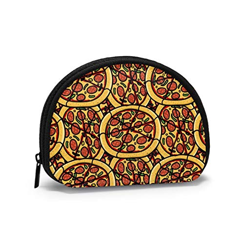 Coin Purses Draw Cute Pizza Pouches for Purse Men Handy Bag Cash Holder Portable Mini Change Wallets for Women Girls 4.7 X 3.5 Inch