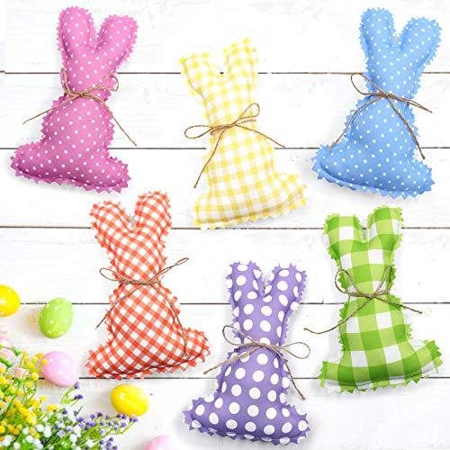 Rhdekoein Conejo de Pascua, decoración de Pascua, conejo de Pascua Makalong, colores rellenos, tejidos de colores, conejos de Pascua para primavera, cesta decorativa