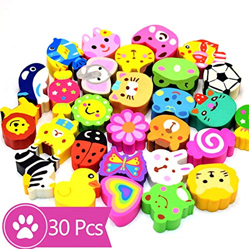 DOYIFun Pack of 30 Pencil Erasers, Cartoon Animal Puzzle Erasers Pencil Top Erasers Caps for Party Supplies Favors Kids Git