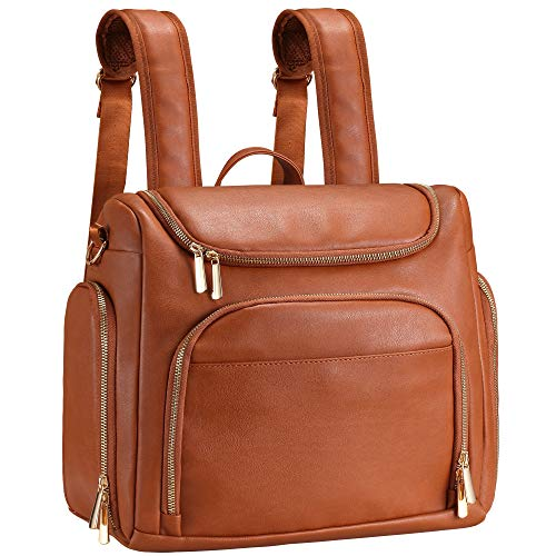 Diaper Bag Backpack, 7-in-1 Beaulyn Leather Travel Back Pack Large Capacity Organizer (dark Brown)