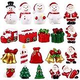 NICEXMAS 20 Peças de Kit de Enfeites Em Miniatura de Natal para Brinquedos de Resina Em Miniatura de Natal para Ãrvore de Natal Boneco de Neve Figurinhas de Papai Noel Enfeites de Jardim