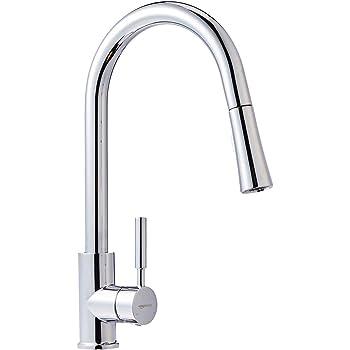 AmazonBasics Modern Single-Handled Kitchen Pull-Down Sprayer Faucet, Polished Chrome