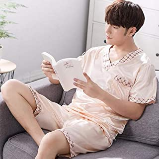 Brand Spring Summer Autumn Men Satin Silk Pajamas Sets of T-shirt & Shorts Male Pijama Sleepwear Leisure Home Clothing Home wear pajamas (Color : Gold, Size : L)