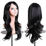 EmaxDesign Peluca de mujer de 70 cm de longitud Melena larga y con volumen, de estilo ondulado y resistente al calor, incluye rejilla para el pelo y peine para peluca(Color: Negro)